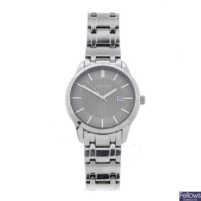 BULOVA - a gentleman's stainless steel bracelet watch.