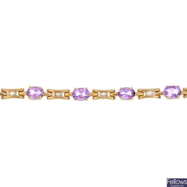 A 9ct gold amethyst and diamond bracelet.