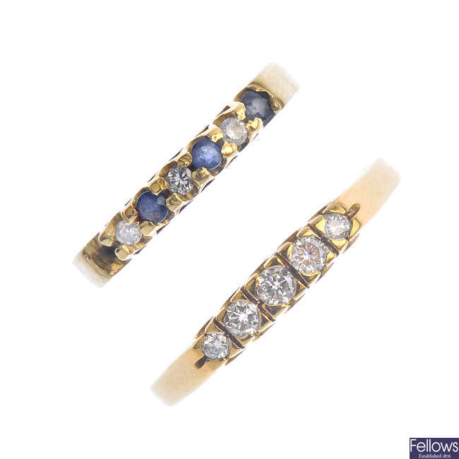 Two diamond and sapphire rings.