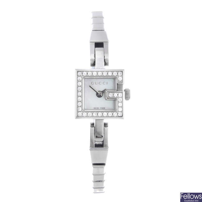 GUCCI - a lady's stainless steel Mini G bracelet watch.