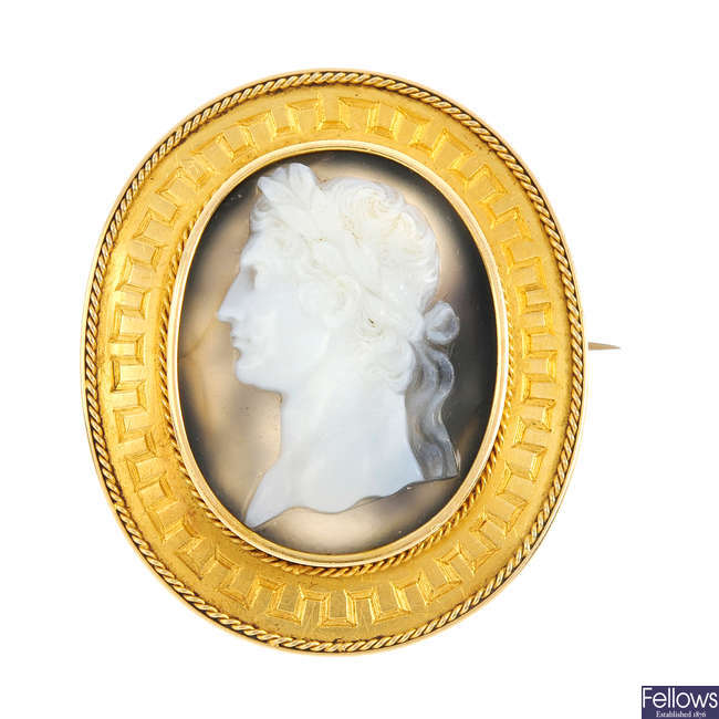 A 19th century gold mounted sardonyx cameo brooch.
