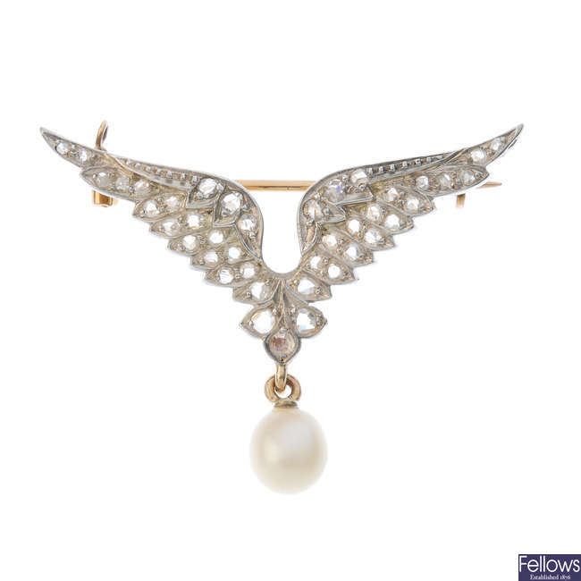 An early 20th century gold and silver diamond and cultured pearl brooch.