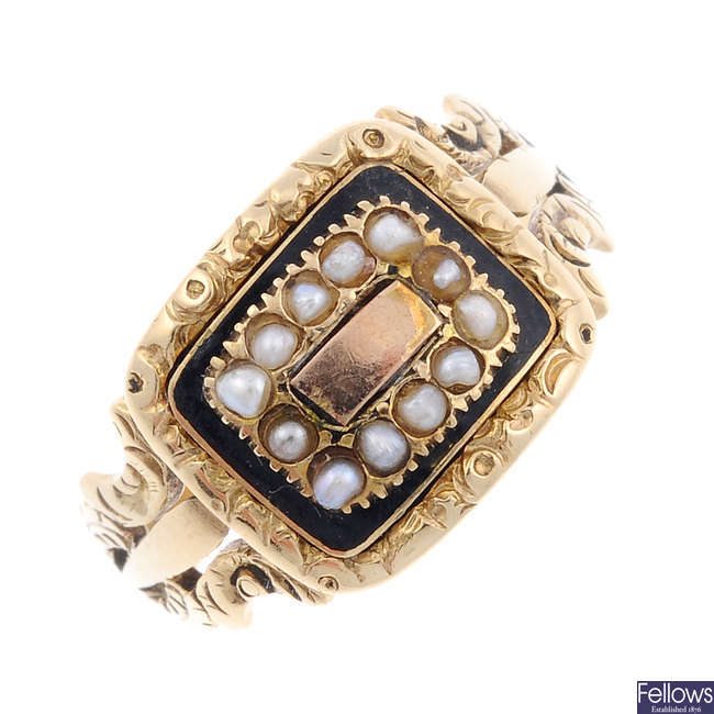 A George IV gold enamel and split pearl ring.