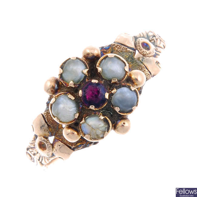 A mid Victorian gold split pearl and red gem ring.