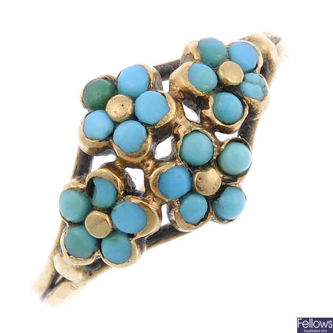 A late 19th century gold turquoise forget-me-not ring.