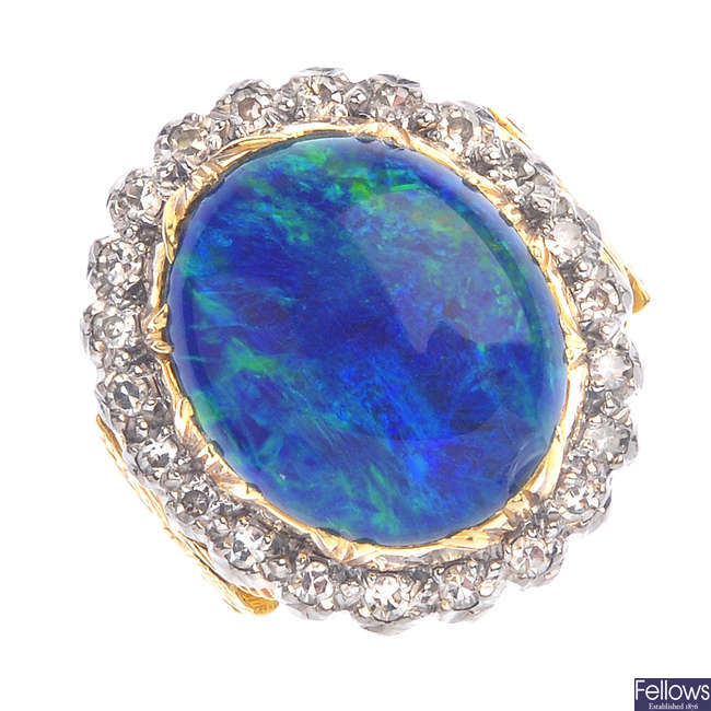 An opal triplet and diamond ring.