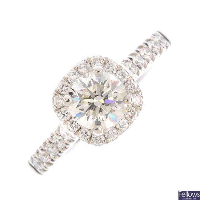 A platinum diamond cluster ring.