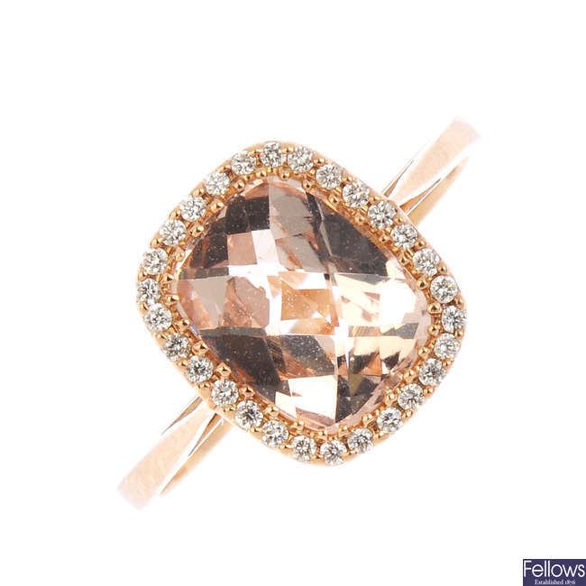 An 18ct gold morganite and diamond cluster ring.