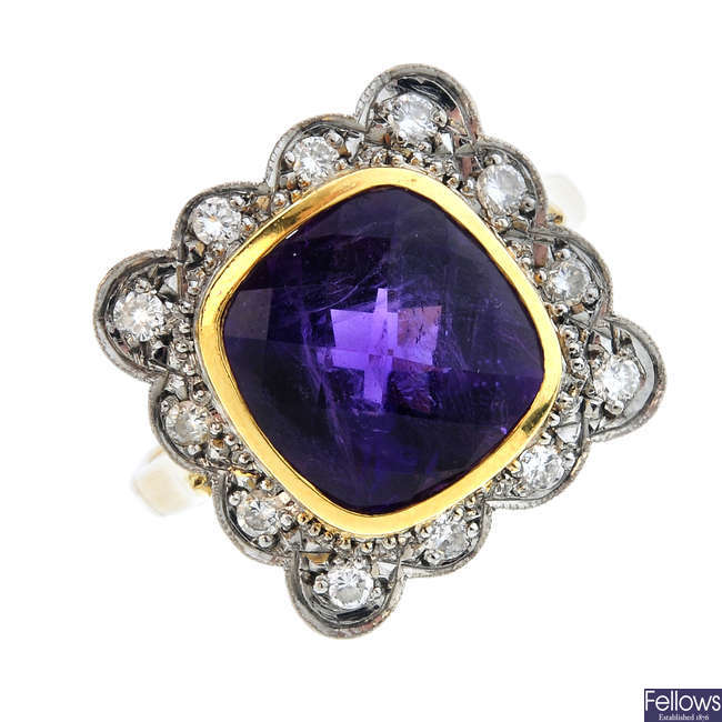 An 18ct gold amethyst and diamond dress ring.