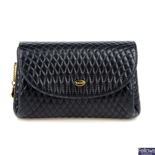 BALLY - a small quilted leather handbag.
