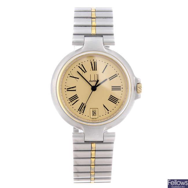 DUNHILL - a mid-size bi-colour bracelet watch.