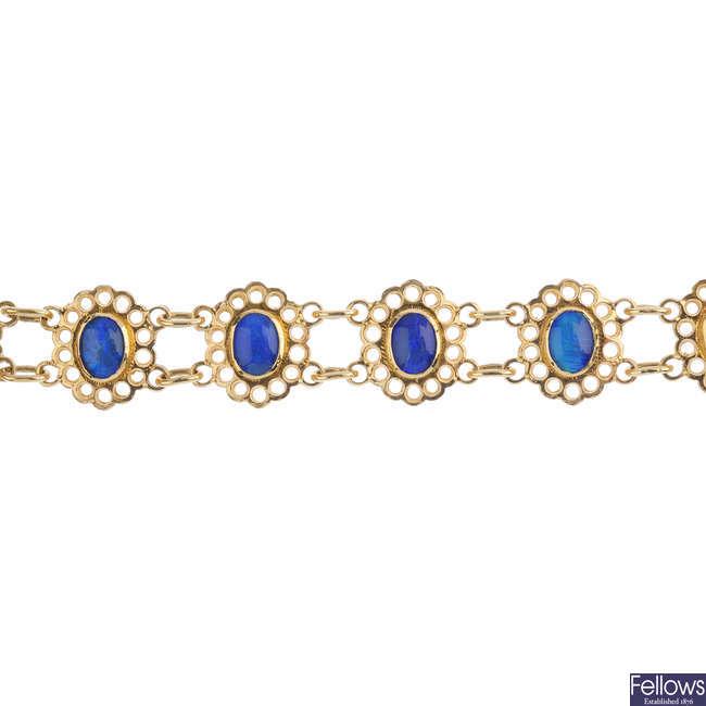 A 9ct gold opal triplet bracelet.