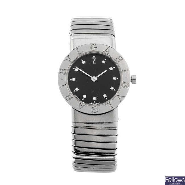 BULGARI - a lady's stainless steel Tubogas bracelet watch.