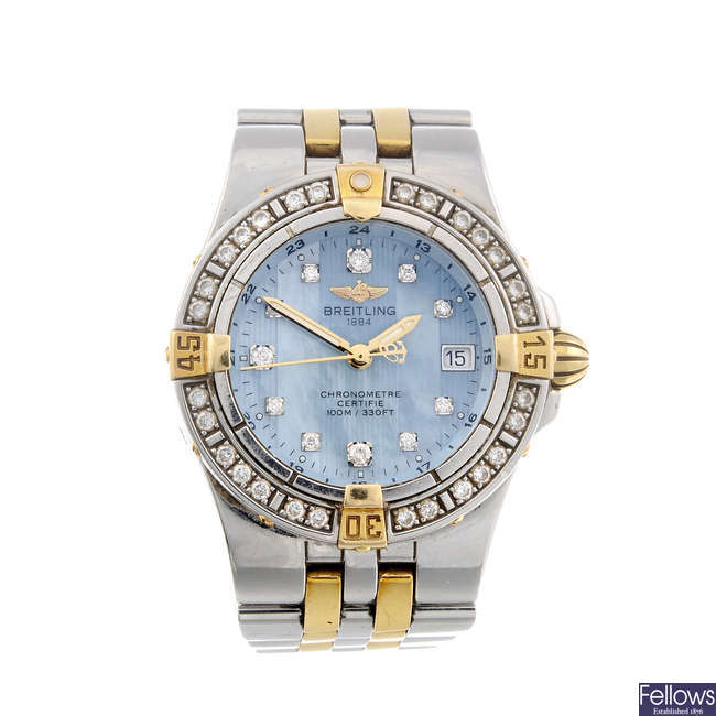 BREITLING - a lady's stainless steel Cockpit bracelet watch.