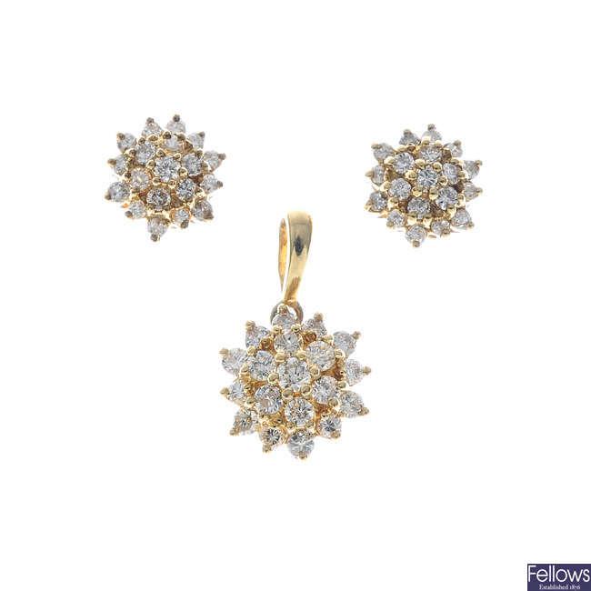 A set of 9ct gold diamond jewellery.