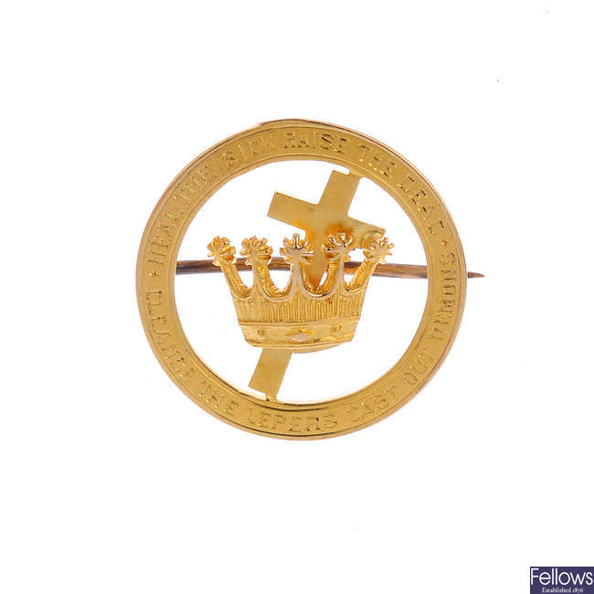 An early 20th century 15ct gold religious brooch.
