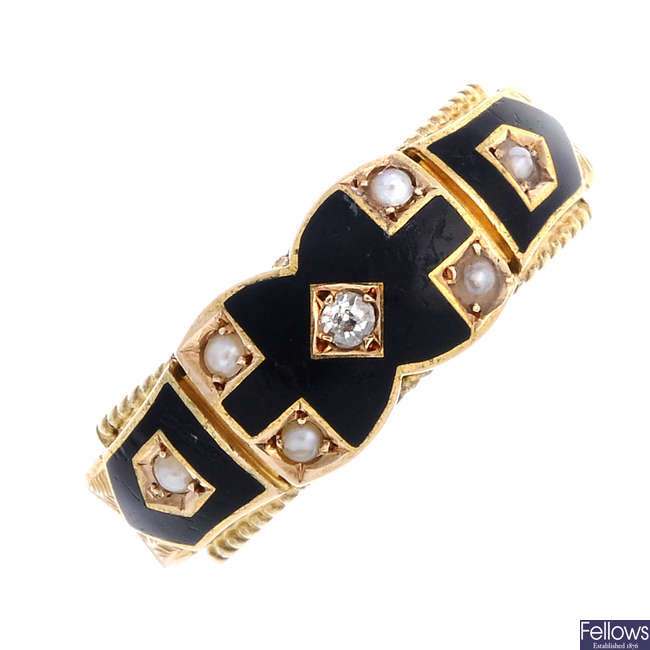 A late Victorian 15ct gold enamel, diamond and split pearl ring.