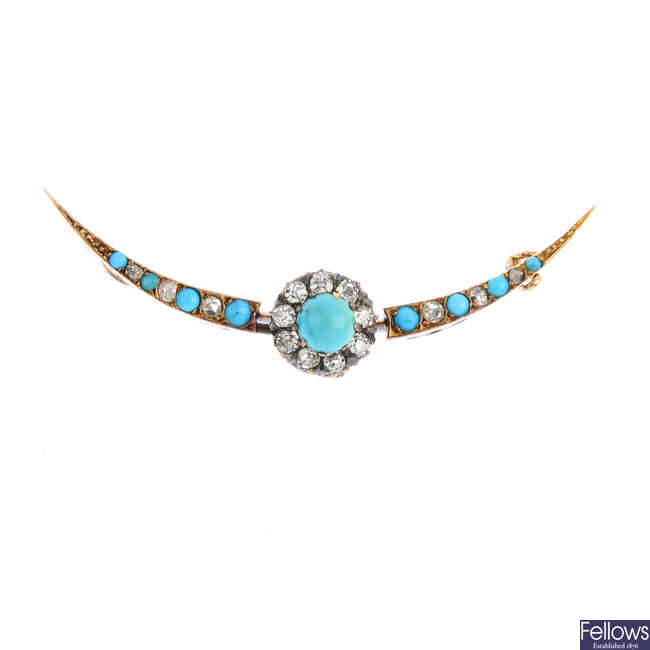 A late Victorian gold, turquoise and diamond brooch.