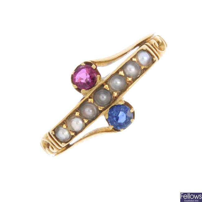 An early 20th century 18ct gold, ruby, sapphire and split pearl ring.