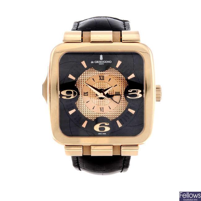 DE GRISOGONO - a gentleman's rose metal Fuso Quadrato wrist watch.