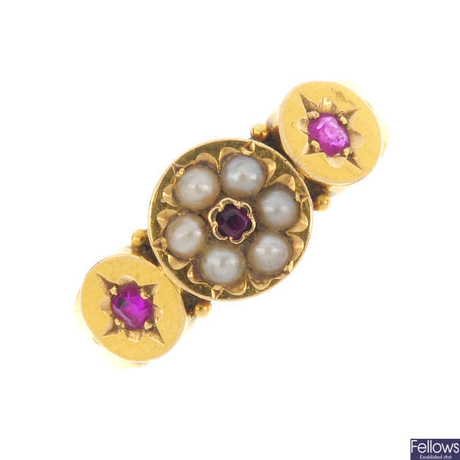 A mid Victorian 18ct gold ruby and seed pearl ring.