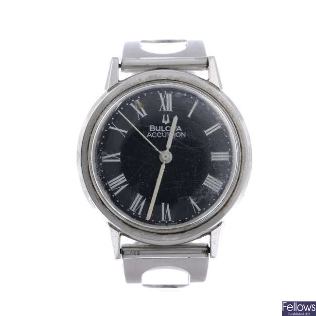 BULOVA - a gentleman's stainless steel Accutron bracelet watch.