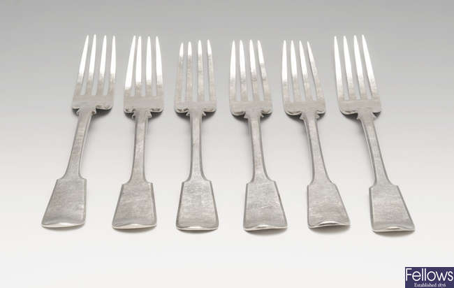 A set of six Maltese silver spoons.