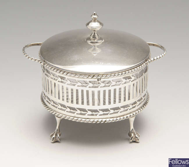 An early twentieth century silver lidded twin-handled bowl.