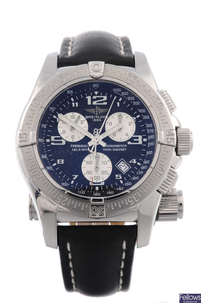 BREITLING - a gentleman's stainless steel Emergency Mission chronograph wrist watch.