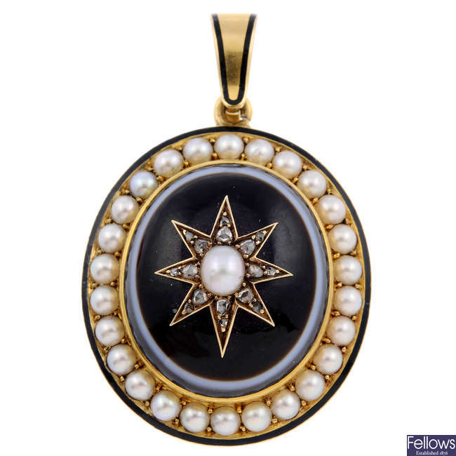 A mid Victorian gold banded agate, split pearl and diamond memorial pendant.