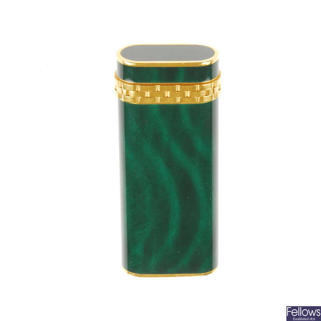 CARTIER - a Panthere gold plated, 'malachite lacquer' lighter.