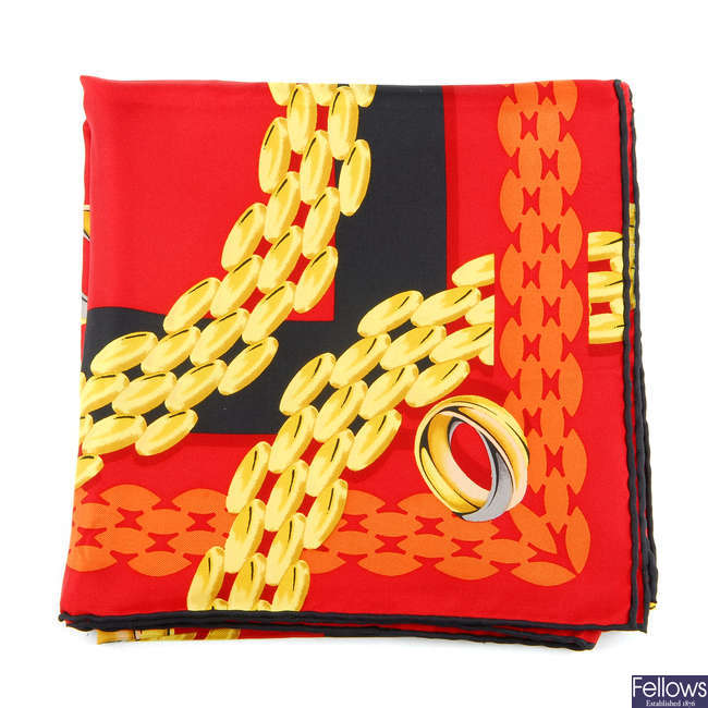 CARTIER - a Trinity Ring scarf.