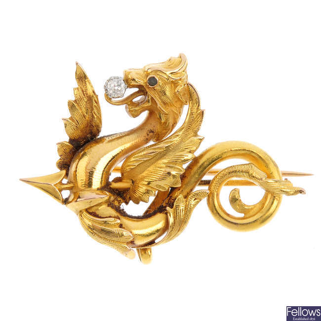 A late Victorian gold and diamond dragon brooch.