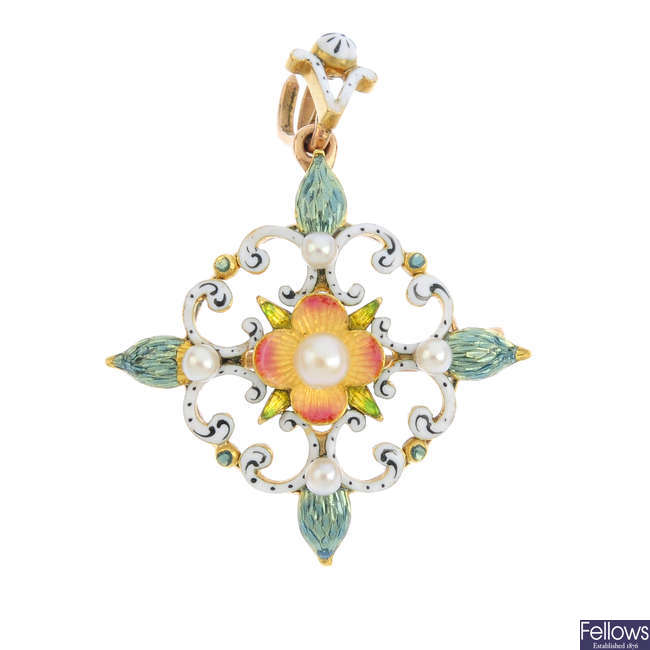 A late Victorian gold, seed pearl and enamel pendant.