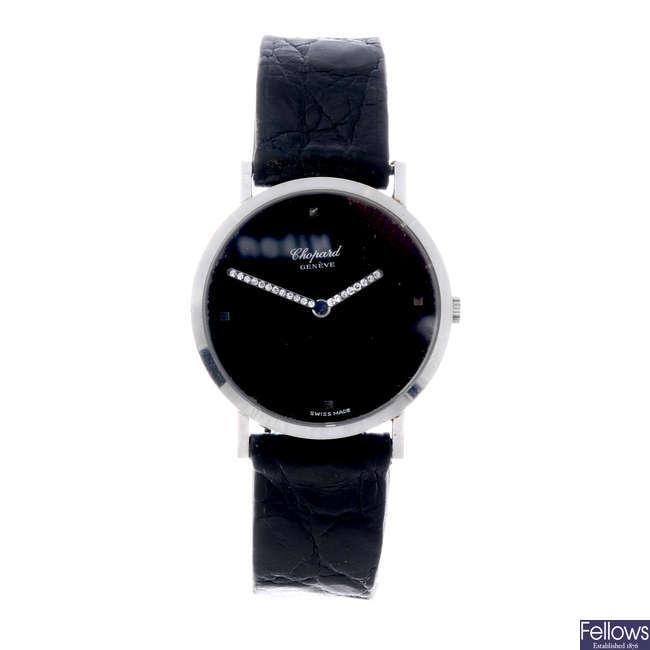 CHOPARD - a lady's 18ct white gold wrist watch.