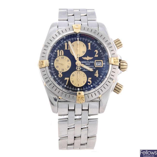 BREITLING - a gentleman's bi-metal Chronomat Evolution chronograph bracelet watch.