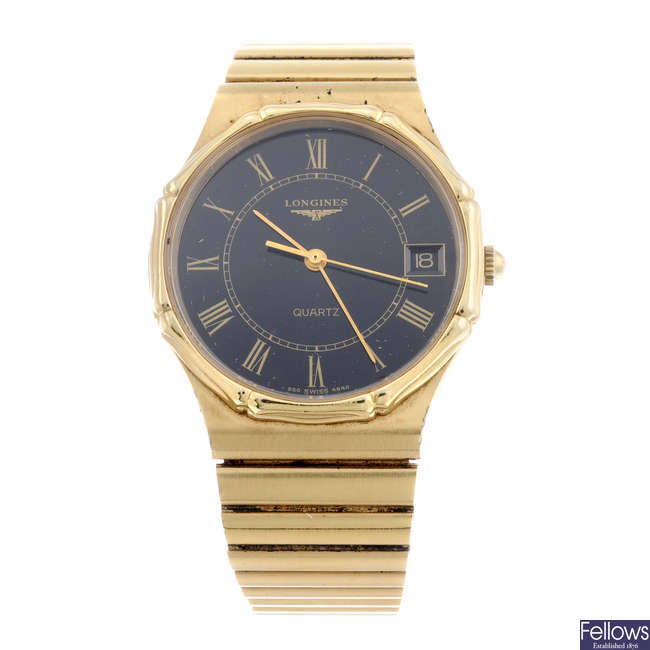 LONGINES - a gentleman's gold plated bracelet watch.