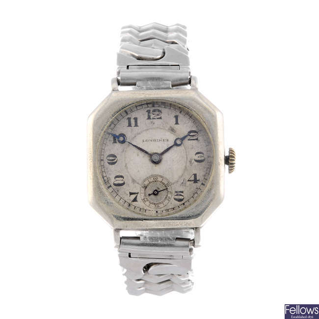 LONGINES - a gentleman's white metal bracelet watch.