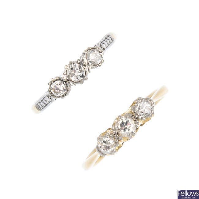 Two diamond three-stone rings.