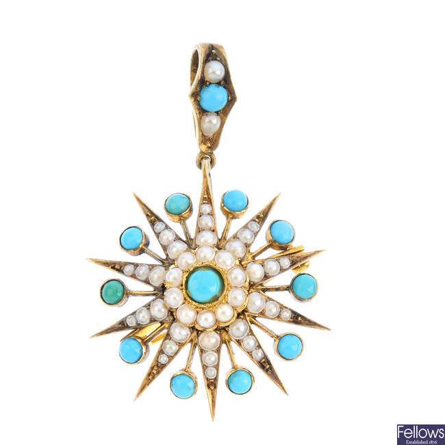 A late Victorian 15ct gold gem-set pendant.