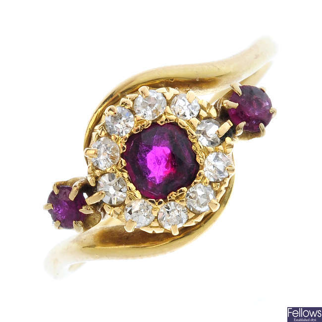 An early 20th century 18ct gold, ruby and diamond dress ring.