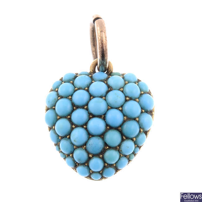 A late Victorian turquoise heart memorial pendant.