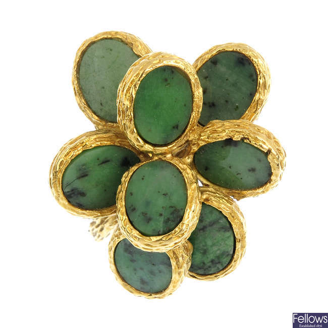 A 1970s hardstone cluster ring.