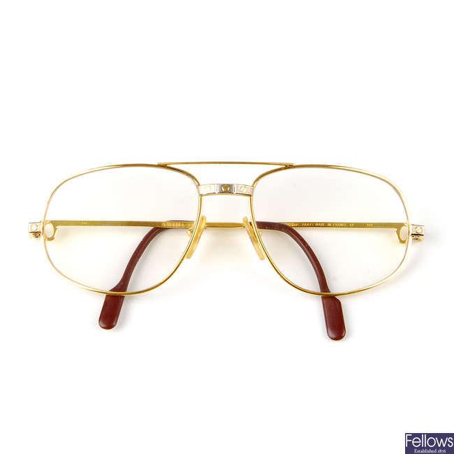 CARTIER - a pair of prescription Santos de Cartier aviator glasses.