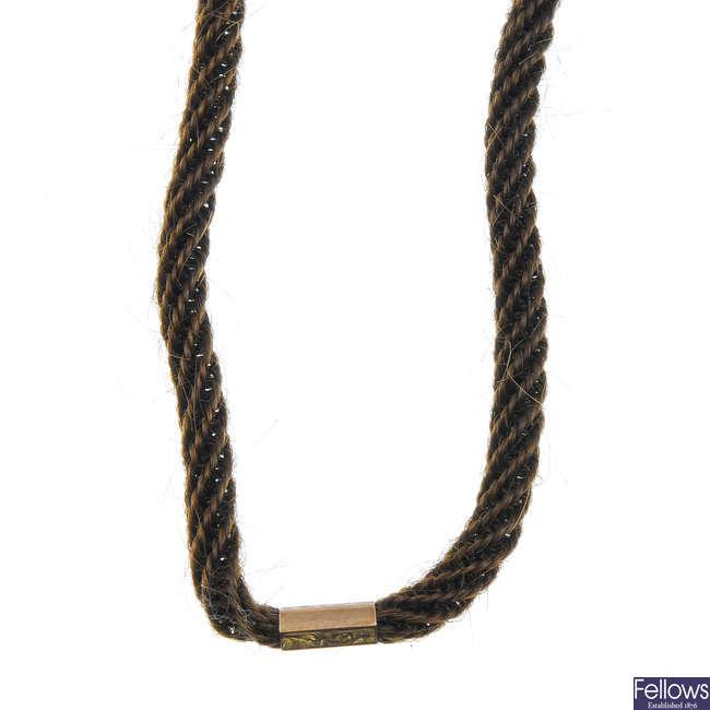A late Victorian woven hair 9ct gold Albert chain.