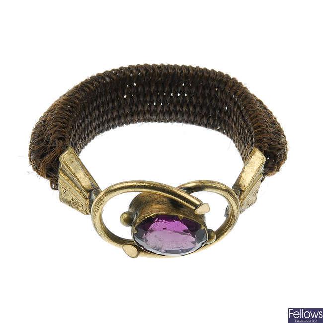 Three late 19th century items of memorial jewellery.