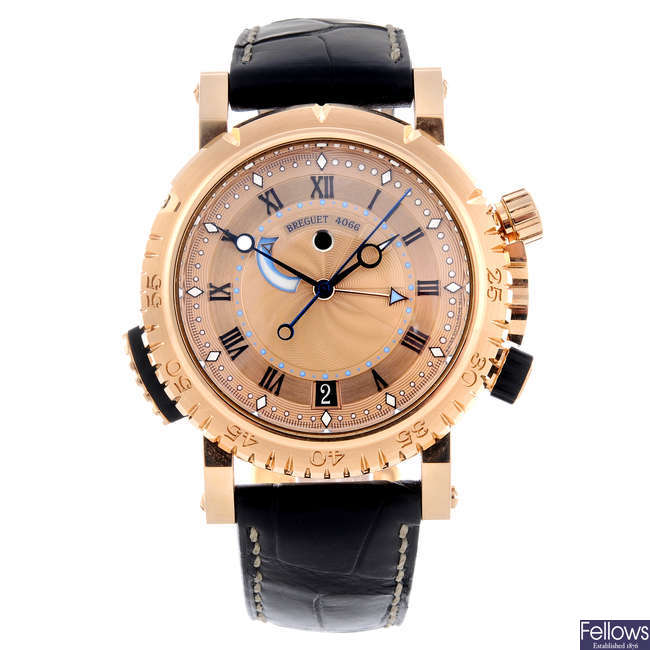 BREGUET - a gentleman's rose metal Marine Royale alarm wrist watch.