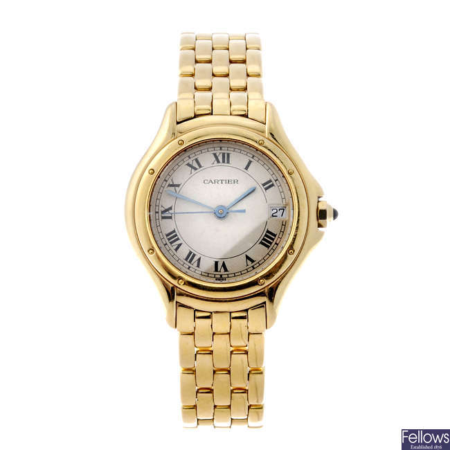 CARTIER - an 18ct yellow gold Cougar bracelet watch.