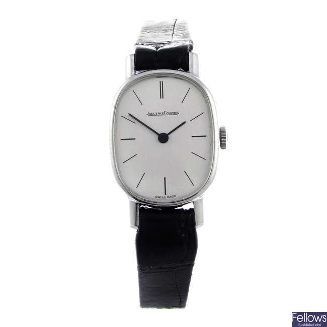 JAEGER-LECOULTRE- a lady's stainless steel wrist watch.