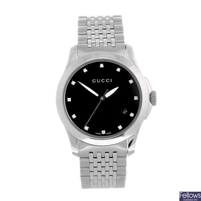 GUCCI - a lady's stainless steel 126.5 bracelet watch.